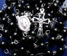 """925 STERLING SILVER & ONYX ROSARY BEADS NECKLACE 33.54"""" ~ 86CM BARGAIN!!."""