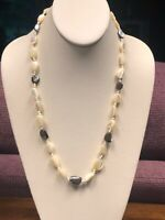 "Vintage Solid White Black Mother Of Pearl Irregular Beaded Necklace 22"" Nice !"