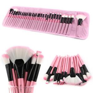 32Pcs Professional Makeup Brushes Powder Foundation Brushes & Luxury Bag Pink UK