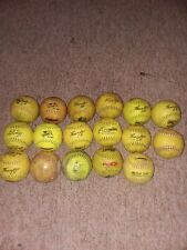 lot of 17 used softballs, great for practice,and most are the brand dudley.