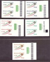 2009 Posta Italiana Serie Ordinaria 5 Valori Codice A Barre MNH Italia