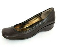 "Kenneth Cole REACTION Womens Brown Leather ""Very Happy"" Wedge Pumps - Size 6.5"