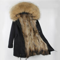 Parka real raccoon fur Nyctereutes procyon Hood with real raccoon fur lining