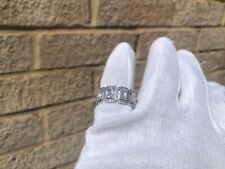Iced Diamond Baguette Cut Stone Ring 18K White Gold Plated Pinky Size 7