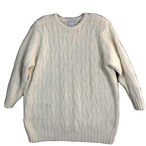 Vintage Adrienne Vittadini Sweater Lambs Wool/Angora Blend Ivory Size Small EUC