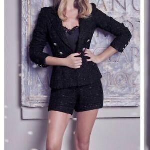 Lipsy Abbey Clancy Boucle Black Glitter Shorts Size 14