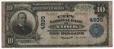 1902 PB $10 City National Bank Note York Nebraska Currency Circulated Fine