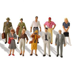 20pcs Model 1:43 Scale Painted Figures Standing O Gauge Passenger People P4304