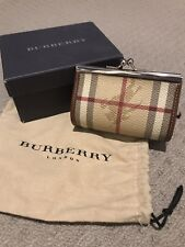 Genuine Burberry leather coin purse kiss lock 100% authentic Made in Italy