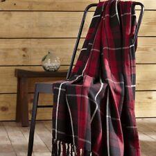 """GARRETT Woven Throw Highlander Plaid Tassels Red/Black/White Cotton 60""""x 50"""""""
