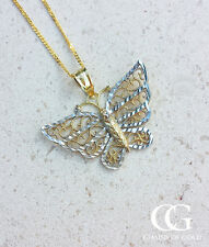 "Fine 9ct Two Colour Gold Diamond Cut Butterfly Necklace 16"" 18"" 20"""