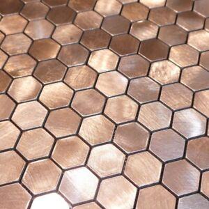 Self-adhesive Mosaic Aluminium Tile Hexagon Bronze Kitchen Feature Decorative
