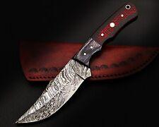 "15) 9""HANDMADE DAMASCUS STEEL SKINNER KNIFE/MICARTA HANDLE & COW LEATHER SHEATH"
