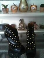 Stunning Black Studded Leather Shoe Boot by Nine West – UK Size 4
