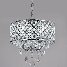 Modern 4-Light Crystal LED Dimming Chandelier Ceiling Luxury Chrome Fan Light US