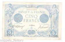 5 Francs Bleu Type 1905 Aout 1916 TTB ++ ( 651 )