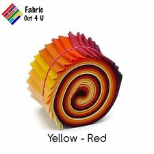 "20 x 2.5"" Yellow Red Jelly Roll PreCut Fabric Strips, 2.5"" x WOF, Die Cut"