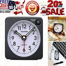 Ultra Small, Battery Travel Alarm Clock w/ Snooze Light No Ticking Analog Quarts
