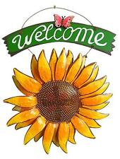 Hanging Metal Sunflower Butterfly Welcome Sign Sunflower Wall Decor Door Wreath