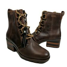 Sorel women boots Cate Waterproof Lace Up heel Bootie brown Leather  sz 7 new