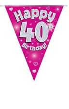 40TH BIRTHDAY PARTY BUNTING BANNER PINK HOLOGRAPHIC 11 FLAGS 3.9M