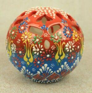 "Turkish Handmade Handpainted Floral Ceramic 4.7"" Candle Holder"