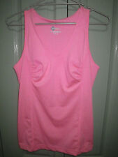 Dry Performance 16 Ruched Bust Pink White Thin Striped Sports Tank Top