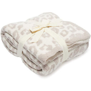 New Barefoot Dreams CozyChic Barefoot in The Wild Throw Stone Cream Soft Blanket