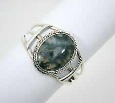 #8752 - Gorgeous Southwest Large Green Moss Agate Cuff - Signed MEZL