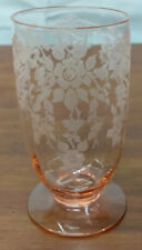 """Cambridge PINK Elegant Glass Apple Blossom Footed 5"""" Water Lunch Dinner TUMBLER"""