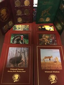 North American Hunting Club Leather Books + Coins Lot