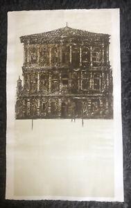 RICHARD BEER 1928-2017 Large Original LITHOGRAPH Ca'Rezzonico, Venice Tate