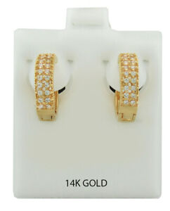 WHITE SAPPHIRE HUGGIE EARRINGS 14K GOLD PLATED * New With Tag *