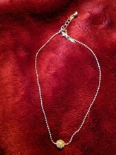 """Silver Bead Chain Lobster Claw Clasp Vintage Avon Ankle Bracelet Crystals 9 1/2"""""""