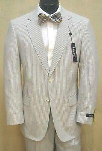 New Haspel Black & White Original Seersucker Flat Front Pant Suit $199.99