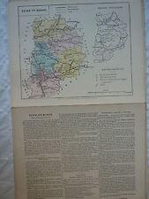 carte scolaire départementale (fin XIX ?) aquarellée / notice SEINE et MARNE
