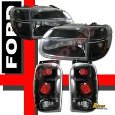 98-01 Ford Explorer Black Headlights Corner Signal Parking + Tail Lights Set