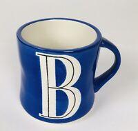 Anthropologie Monogram Coffee Mug Blue Letter B Initial Hand Painted Tea Cup
