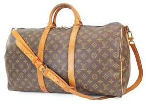 Authentic LOUIS VUITTON Keepall Bandouliere 50 Monogram Canvas Duffel Bag #39458