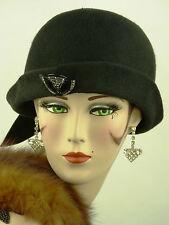 Sombrero Vintage Original 1920s Cloche, Negro De Fieltro, Clara Bow estilo, W Deco Sombrero De Flash