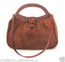 Henry Beguelin Brown Suede Leather Top Handle Shoulder Bag, Made In ITALY
