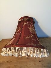"PRELOVED FADED ROMANIC FRINGED LAMP SHADE  11"" TALL & 12"" WIDE"