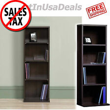 Multimedia Storage Tower Cabinet CD DVD Wall Rack Shelves Organizer Media Shelf