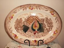 VINTAGE JAPANESE THANKSGIVING TURKEY OVAL SERVING PLATTER
