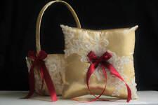 Lace Bearer Pillow BurgundyGold Wedding Flower Lace Ring bearer Girl Basket Set