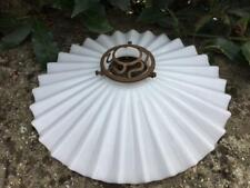 VINTAGE FRENCH GLASS OPALINE COOLIE LIGHT SHADE ORIGINAL GALLERY FITTING  25 CMS