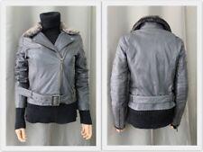 HAMPTON BAYS, veste perfecto NEUVE en cuir véritable, col fausse fourrure, 38