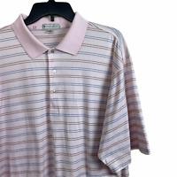 Peter Millar Mens Cotton Pink Striped Golf Polo Shirt XL Short Sleeve