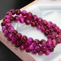 Pretty 6mm Rose Tiger'S Eyes Round Gemstone Beads Bangle Jewelry Bracelet AAA