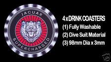 4  x  JAGUAR SUPERCHARGED MOTOR CAR BONNET BADGE EMBLEM,  DRINK COASTERS - RED